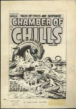 AL AVISON -CHAMBER OF CHILLS #26 COVER ORIG ART MONSTER