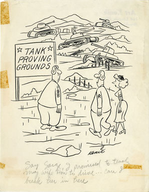 ART KENIK - PANEL CARTOON ORIGINAL ART - TANK / ARMY