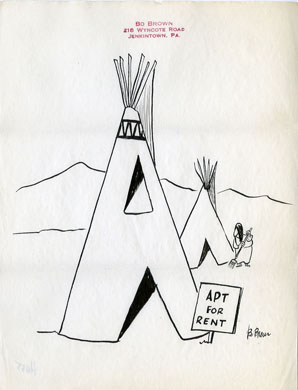 BO BROWN - 1-PANEL GAG CARTOON ORIG ART - TEEPEE RENTAL