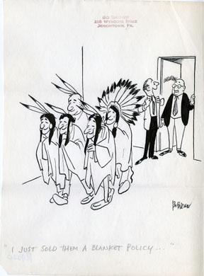 BO BROWN - PANEL CARTOON ORIG ART - BLANKET POLICY