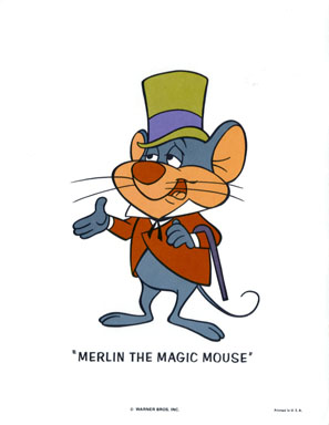 MERLIN MAGIC MOUSE - WB CARTOON ANIMATION PROMO PRINT