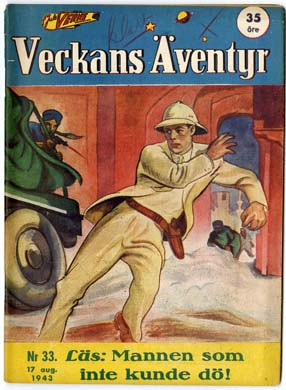 VECKANS AVENTYR #33 Swedish Pulp/Comic 1943 SUPERMAN