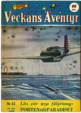 VECKANS AVENTYR #43 Swedish Pulp/Comic 1943 SUPERMAN