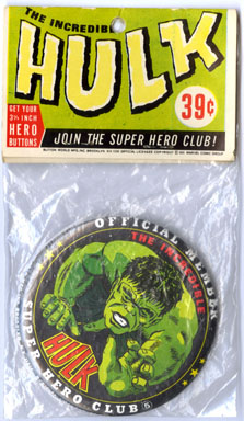 INCREDIBLE HULK BUTTON MarvelMania MMMS SUPER HERO CLUB