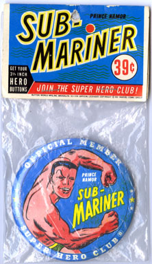 SUB-MARINER BUTTON MarvelMania MMMS SUPERHERO CLUB 1966