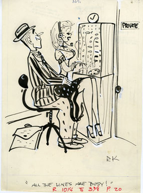 REAMER KELLER -GEE-WHIZ CARTOON ORIG ART 1956 SECRETARY
