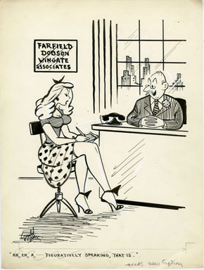GERALD GREEN - BREEZY CARTOON ORIG ART 1956 SECRETARY