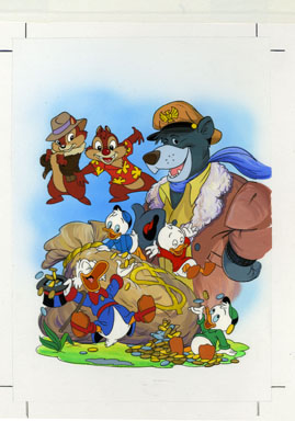 DISNEY PROMO ART - UNCLE SCROOGE CHIP 'N' DALE ORIG ART