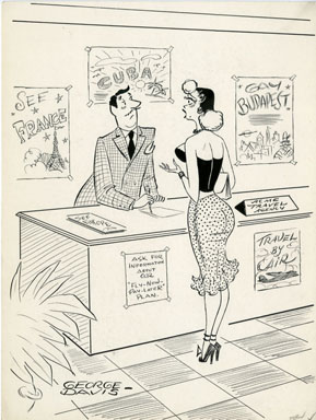 GEORGE DAVIS - TRAVEL AGENT CARTOON ORIGINAL ART (1956)