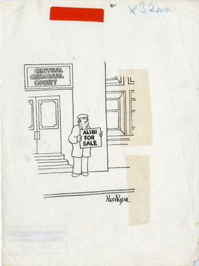 KEN PYNE - DAILY MIRROR ALIBI 1-PANEL CARTOON ORIG ART