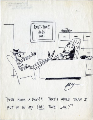 MYERS - PART-TIME JOBS ONE-PANEL GAG CARTOON ORIG ART