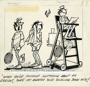 ROWE - TENNIS JUDGE ONE-PANEL GAG CARTOON ORIGINAL ART