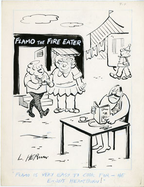 LEONARD HERMAN - FLAMO FIRE EATER GAG CARTOON ORIG ART