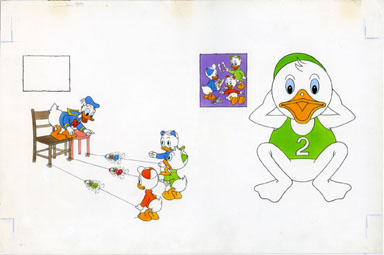 DISNEY ACTIVITY BOOK: GAMES Pg 8-9 ORIG ART DONALD DUCK