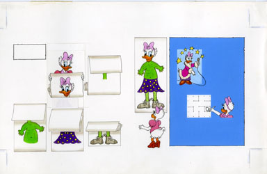 DISNEY ACTIVITY BOOK: GAMES PGS 16/17 ART  DAISY DUCK