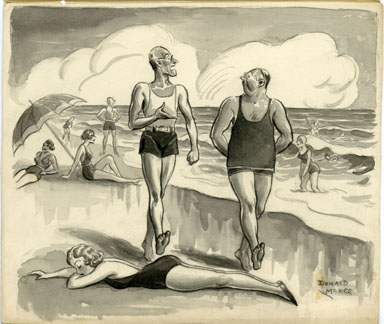 DONALD McKEE - PEEK MAG. GAG CARTOON ORIG ART BEACH