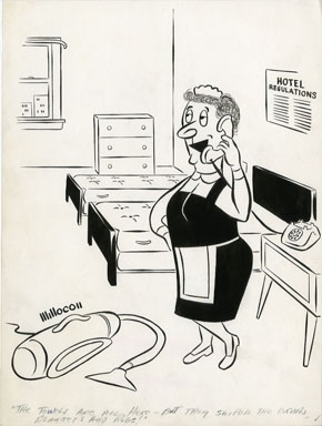 E.N. MILLER - HOTEL MAID GAG CARTOON 1958 ORIG ART