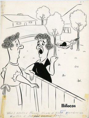 E.N. MILLER - LAZY HUSBAND GAG CARTOON 1960 ORIG ART