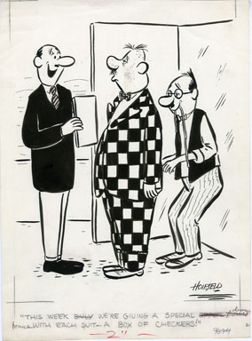 HOIFSELD - CHECKERED SUIT 1-PANEL GAG CARTOON ORIG ART